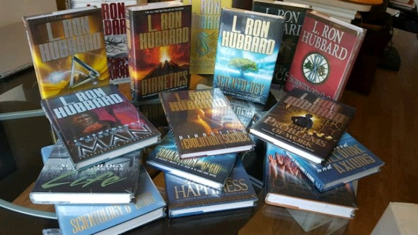 A set of Scientology books by L. Ron Hubbard