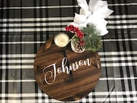 Personalized Round Wooden Tray with Handles Rustic Decor Essa