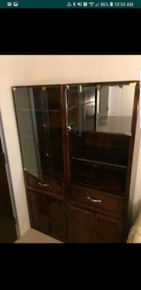 brown wooden framed glass display cabinet Valrico, 33596