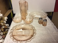 clear bowl, tray drinking glass, pitcher and two condiment shakers Bridgeport, 48722