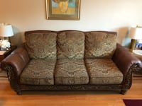 Brown and beige floral 3-seat sofa with matching love seat Oakville, L6M 1C8