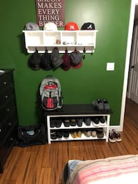 "Foyer Bench/Hallway /Bench (40"") with Two Shoes Shelves and Matching Coat Rack/ Cubbies Crestview"