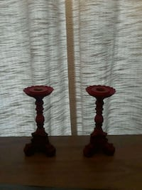 two red wooden candle holders Columbia