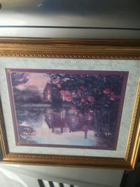 brown house near river and red flowers painting Huron, 48174