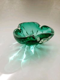 Green Art Glass , Thick ,Vintage and gleeming after all these years Toronto, M1R