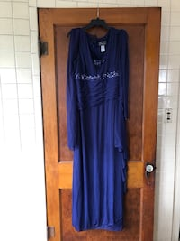 Navy blue formal dress with scarf