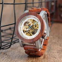 BOBO BIRD NORTH WOODEN STEAMPUNK AUTOMATIC DIAL WOODEN WATCH