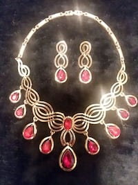 Gold and Red Necklace With Earrings  Chesapeake, 23325