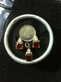Gold plated Ruby and topaz earings & pendant set Edmonton, T6A 2L6