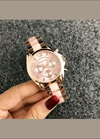 round gold-colored chronograph watch with link bracelet Las Vegas, 89128