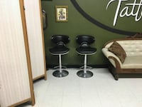 two black leather barstools Barrie, L4N 9P4