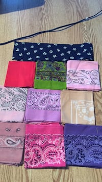 assorted color printed scarves