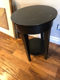 round black wooden side table null, 91739