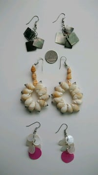 Shell, mother of Pearl Earrings - Lot of 3 pairs Surrey, V3R