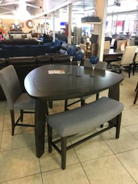 oval brown wooden table with four chairs dining set HOUSTON