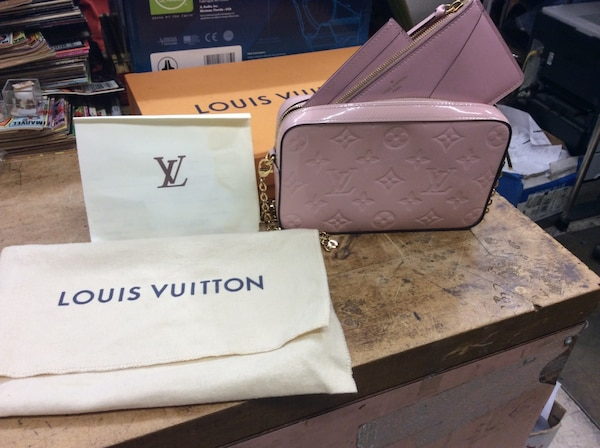 Louis Vuitton pink camera pounce bag with receipt and box used mint