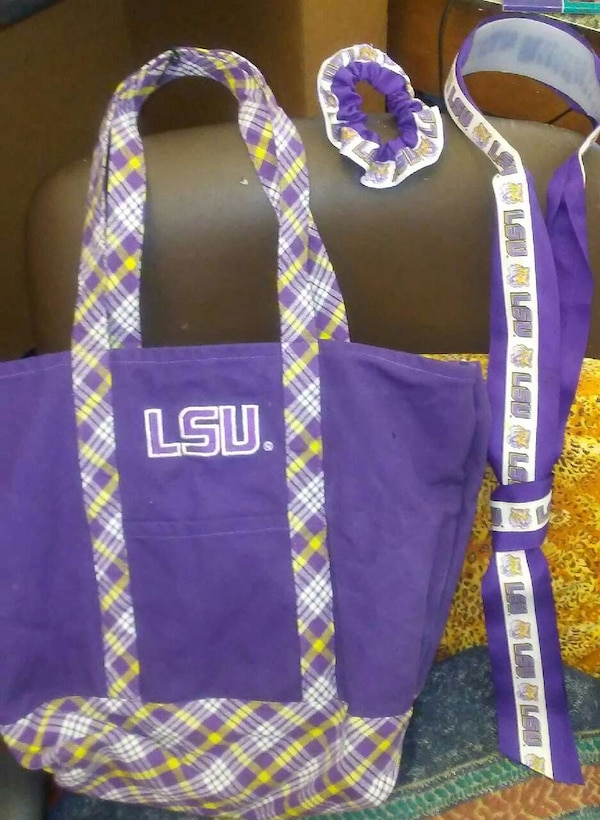 66db25a6d5b7 Used blue, yellow and white plaid LSU tote bag for sale in New Orleans -  letgo