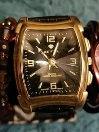 square gold-colored chronograph watch with black leather strap Frederick, 21702