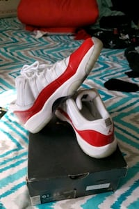 pair of red and white Air Jordan 11 on box Wilmington, 19804