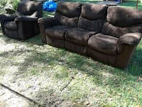 DOUBLE RECLINER/SINGLE RECLINER CHOCOLATE BROWN LIVING ROOM SET  Mobile, 36606