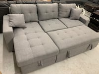 Brand new grey fabric sectional pull out sofa bed warehouse w 多伦多, M1S