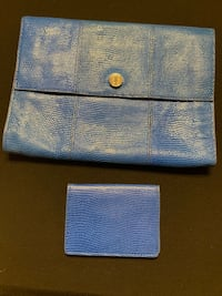 CLUB MONACO GENUINE LEATHER BLUE CLUTCH & CARD HOLDER Calgary, T3H 3C7