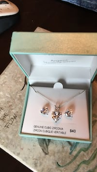 Cubic zirconia matching earring necklace set. Never used Victoria, V8T 3J8
