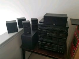 Onkyo stereo system & surround sound speakers