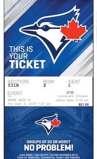 Blue jays vs Cleveland Indians sept 6 st 7pm  Lincoln, L0R