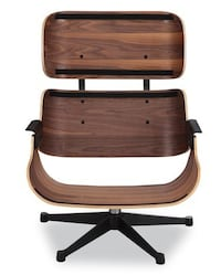 Eames Lounger Chair Black Leather and Walnut Palisander