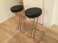 Round black leather padded with stainless steel bar stools. Only $50. That's $25 each.  Vancouver, V5T
