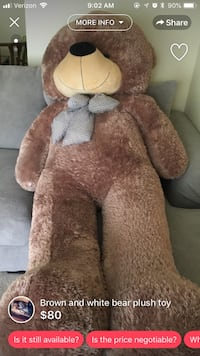 brown and white bear plush toy South Bend, 46614