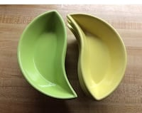 Yin and Yang Set of divided dishes green and yellow-summer colors