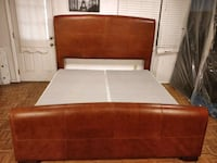 STANLEY FURNITURE leather (KINK SIZE) bed frame with box spring, let m West Springfield, 22152