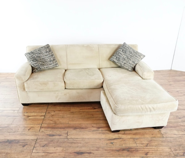Used Rowe Furniture Contemporary Suede Upholstered Sectional Sofa