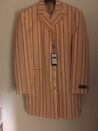 Men's Peach Pinstripe MILANO MODA 6 BUTTONS 3 Piece Suit 46 R  J.40 P 1212 mi