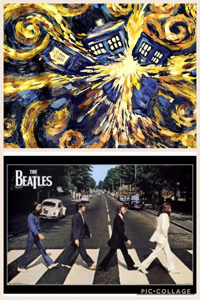 Photo Doctor who and Beatles abbey road posters