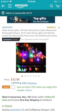 Brand new Globe String Lights, 100 LED Colored Fairy Lights Waterproof 杰克逊维尔, 32204