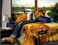 blue and brown lion print bed comforter set