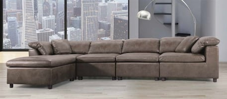 NEW 5 PCS AUDREY BRUSHED MICROFIBER SECTIONAL