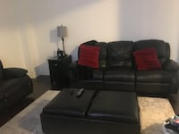 black leather reclining sofa set and ottoman  TORONTO