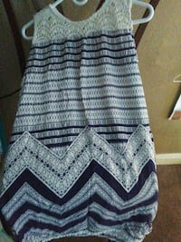 women's white and blue sleeveless dress