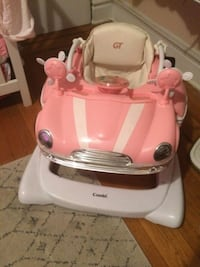 baby's pink and white Combi walker