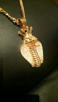Cobra ice king gold tone plated chain necklace