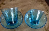 VINTAGE BLUE GLASS SET GLASSES AND BOWLS Wood-Ridge