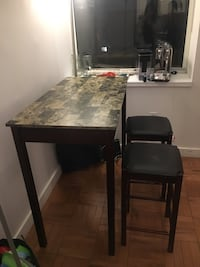 Table with Two Bar Stool Chairs