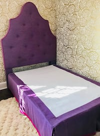 Purple/Fuchsia Full Headboard, Skirt, Pillows Set