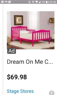 Toddler bed frame lite pink with mattress