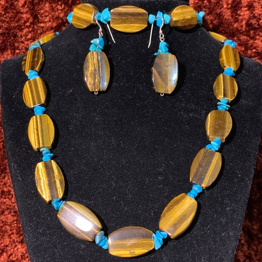 Genuine Tigers Eye Turquoise Bead Necklace with Sterling Silver Clasp e0d77353-3c60-47af-bbec-d472ca1785ee