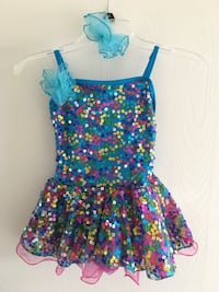 Girl's blue and pink floral spaghetti strap dress dance costume.